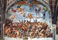 Luca Signorelli (1450-1523): Les damnés. 1499-1502. Fresque. Chapelle saint Brice, dome d'Orvieto. (Histoire de l'art - Quattrocento