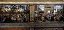 Chapelle Sixtine, mur sud: fresque du testament et de la mort de Moïse (à gauche) et fresque du châtiment de Coré et des lévites