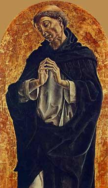 Cosimo Tura (1430-1495): Saint Dominique. 1475. Huile sur panneau, 51 x 32cm. Florence, galerie des Offices. (Histoire de l'art - Quattrocento