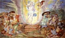 Hendrick Van den Broeck: la résurrection du Christ. Fresque, chapelle Sixtine, Vatican
