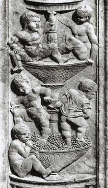 Giovanni Antonio Amodeo (1447-1522): enfants jouant. 1470-1475, marbre. Bergame, chapelle Colleoni. (Histoire de l'art - Quattrocento