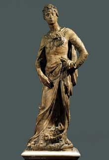 Donatello (1386-1466): David. 1409. Marbre, 191 cm. Florence, Museo Nazionale del Bargello. (Histoire de l'art - Quattrocento