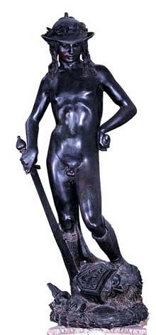 Donatello (1386-1466): David. 1430. Bronze, 158 cm. Florence, Museo Nazionale del Bargello. (Histoire de l'art - Quattrocento