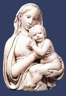 Luca Della Robbia (1400-1482): madone à la pomme.1455-1460, terre cuite vernissée, 70 x 52 cm. Florence, Museo Nazionale del Bargello. (Histoire de l'art - Quattrocento