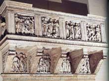Luca Della Robbia (1400-1482): la tribune de la Cantoria. 1431-1438. Marbre, 328 x 560 cm. Florence, musée de l'œuvre du Dôme. (Histoire de l'art - Quattrocento