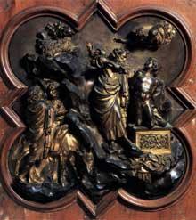 Lorenzo Ghiberti (1378-1455): Le Sacrifice d'Isaac. 1401. Bronze. Florence Museo Nazionale del Bargello. C'est avec cette oeuvre que Ghiberti gagne le fameux concours pour la réalisation de la porte du Baptistère de Florence. (Histoire de l'art - Quattrocento