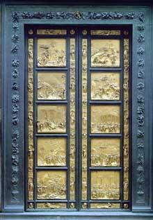 Lorenzo Ghiberti (1378-1455): la «porte du Paradis» ou porte est du Baptistère de Florence. 1425-1452. Bronze avec dorure, 406 x 287 cm (Histoire de l'art - Quattrocento
