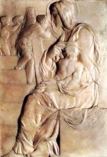 Madone à l'escalier. 1490-1492. Marbre, 55,5 x 40 cm. Maison Buonarroti, Florence