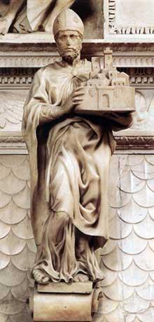 Saint Petronius.1494. Marbre, 64 cm avec base. San Domenico, Bologn