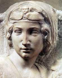 Madone (Tondo Pitti), détail. 1504-1505. Marbre, 85,8 x 82 cm. Musée national du Bargello, Florence