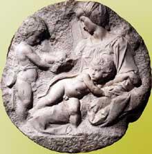 Madone et Jésus avec Jean Baptiste enfant (Taddei Tondo). 1505-1506. Marbre, diamètre 82,5 cm. Académie royale des arts, Londres