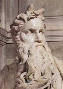 Tombeau de Jules II. Moïse (détail). 1545. Marbre. Eglise saint Pierre in Vincoli, Rome