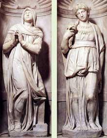 Tombeau de JulesII. Rachel et Léa. 1545. Marbre. Eglise saint Pierre in Vincoli, Rom