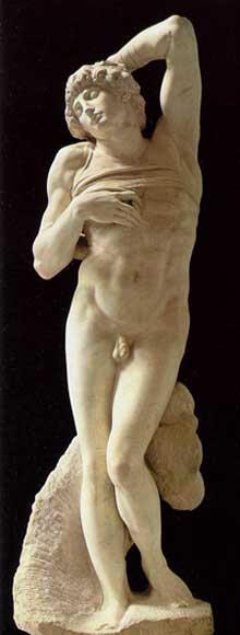 Tombeau de JulesII. Esclave mourant. Vers 1513. Marbre, 229 cm. Musée du Louvre, Paris