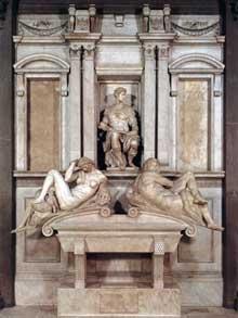 Tombe de Jules de Médicis.  1526-1533. Marbre, 630 x 420 cm. Nouvelle Sacristie, San Lorenzo, Florence