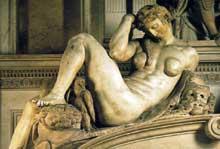 Tombe de Jules de Médicis. La Nuit. 1526-1533. Marbre, 194 cm. Nouvelle Sacristie, San Lorenzo, Florence