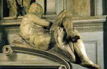 Tombe de Jules de Médicis. Le jour. 1526-1533. Marbre, 185 cm. Nouvelle Sacristie, San Lorenzo, Florence