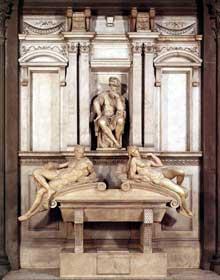 Tombe de Laurent de Médicis. 1524-1531. Marbre, 630 x 420 cm. Nouvelle Sacristie, San Lorenzo, Florence