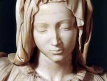 Pieta (détail). 1499. Marbre, 174 cm, 195 cm avec la base. Basilique saint Pierre, Vatican