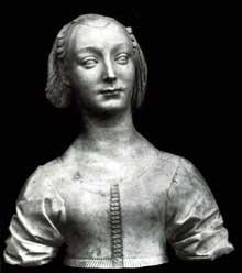 Desiderio da Settignano (vers 1428-1464): Portrait de Marietta Strozzi. Vers 1460. Marbre, 52,5 cm. Berlin, Staatliche Museen. (Histoire de l'art - Quattrocento