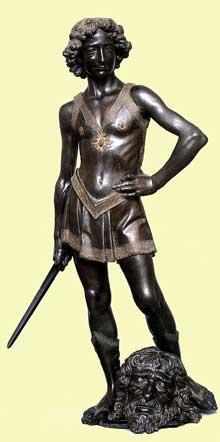 Andrea Verrocchio (1435-1488): David. 1473-1475. Bronze, 1m25. Florence, Museo Nazionale del Bargello. (Histoire de l'art - Quattrocento