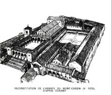 Mont Cassin: reconstitution de l'abbaye, vers 1075