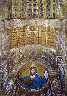 Monreale: la cathédrale, 1172-1176: décor de l'abside et du plafond de la nef
