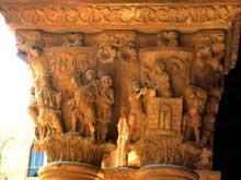 Monreale: la cathédrale, 1172-1176: chapiteau du cloître: l'ivresse de Noé et la tour de Babel