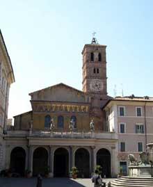 Rome: Santa Maria du Trastevere, 1140. La façade occidentale