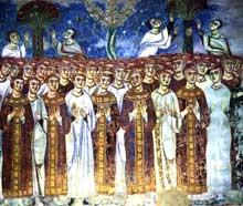 Sant'Angelo in Formis près de Capoue: fresque de l'abbatiale: les élus du jugement dernier