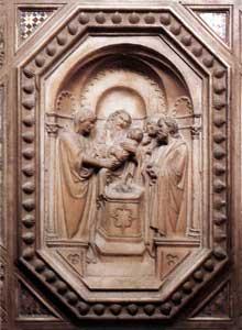 Orcagna (Andrea di Cione). Porte du tabernacle de la Vierge, vers 1355-59. Marbre, 16cm. Eglise Orsanmichele, Florence
