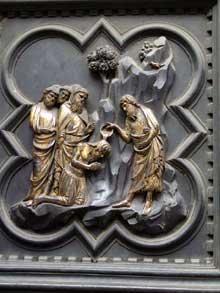 Andrea Pisano (actif entre. 1290 et1349) porte sud baptistère Florence, 1330. Le baptême du Christ