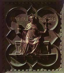 Andrea Pisano (actif entre. 1290 et1349) porte sud baptistère Florence, 1330. La foi