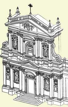 Carlo Maderno: vue isométrique de Santa Suzanna à Rome, 1596