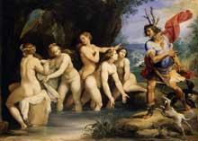 Giuseppe Cesari (1565-1640) dit le Cavalier d'Arpin: Diane et Actéon. 1603-1606. Huile sur cuivre. 50 x 69cm. Budapest, musée des Beaux Arts