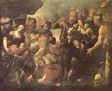 Gioachino Assereto: Moïse fait jaillir l'eau du rocher. Huile sur toile, 254 x 300cm. Madrid, musée du Prado