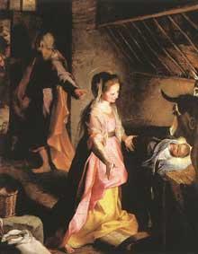 Federico Barocci d'Urbin: la nativité. 1597. Huile sur toile, 134 x 150cm. Madrid, musée du Prado