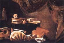 Evaristo Baschenis: nature morte aux instruments de musique. Vers 1650. Huile sur toile, 97 x 147cm. Milan, Pinacothèque de la Bréra
