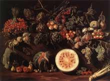 Pietro Paolo Bonzi. Fruits, végétaux et papillon. Vers 1620. Huile sur toile, 100 x0136cm. Collection privée