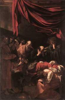 Le Caravage. La mort de la Vierge. 1606. Huile sur toile 369 x 245cm. Paris, Musée du Louvre