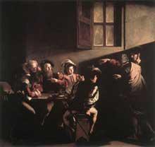 Le Caravage. L'appel de saint Matthieu. 1599-1600. Huile sur toile, 322 x 340cm. Chapelle Contarelli, église saint Louis des Français, Rome