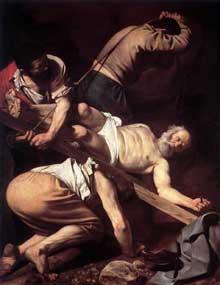Le Caravage. La Crucifixion de saint Pierre. 1600 Huile sur toile 230 x 175cm. Chapelle Cerasi, Santa Maria del Popolo, Rome