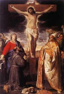 Crucifixion. 1583. Huile sur toile. 305 x 210 cm. Bologne, Santa Maria della Carita