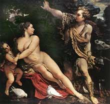 Annibal Carrache: Vénus et Adonis. Vers 1595. Huile sur toile. 217 x 246cm. Vienne, Kunsthistorisches Museum