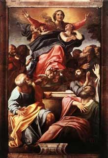 Annibal Carrache: l'Assumption de la Vierge Marie. 1600-1601. Huile sur toile, 245 x 155cm. Chapelle Cerasi, Santa Maria del Popolo, Rome