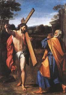 Annibal Carrache: quo vadis Domine? 1601-1602. Huile sur panneau, 77,4 x 56,3cm. Londres, National Gallery