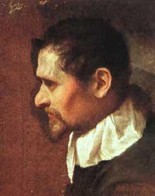 Annibal Carrache: autoportrait de profil. 1590s. Huile sur toile. Florence, Galerie des Offices.
