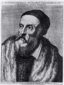 Augustin Carrache: portrait du Titien. 1587. Gravure sur cuivre, 327 x 236mm. Berlin, Staatliche Museen