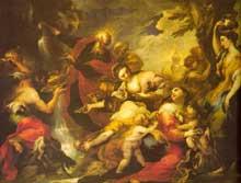 Valerio Castello: Moïse fait jaillir l'eau du rocher. Huile sur toile, 197 x 261cm. Paris, musée du Louvre