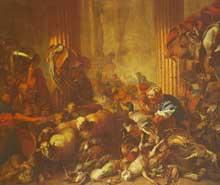 Giovanni Benedetto Castiglione: le Christ chassant les marchands du temple. Huile sur toile. Paris, musée du Louvre